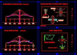 دانلود نقشه اتوکد اجرایی: سازه فضاکار با تمام جزییات اجرایی و اتصلات